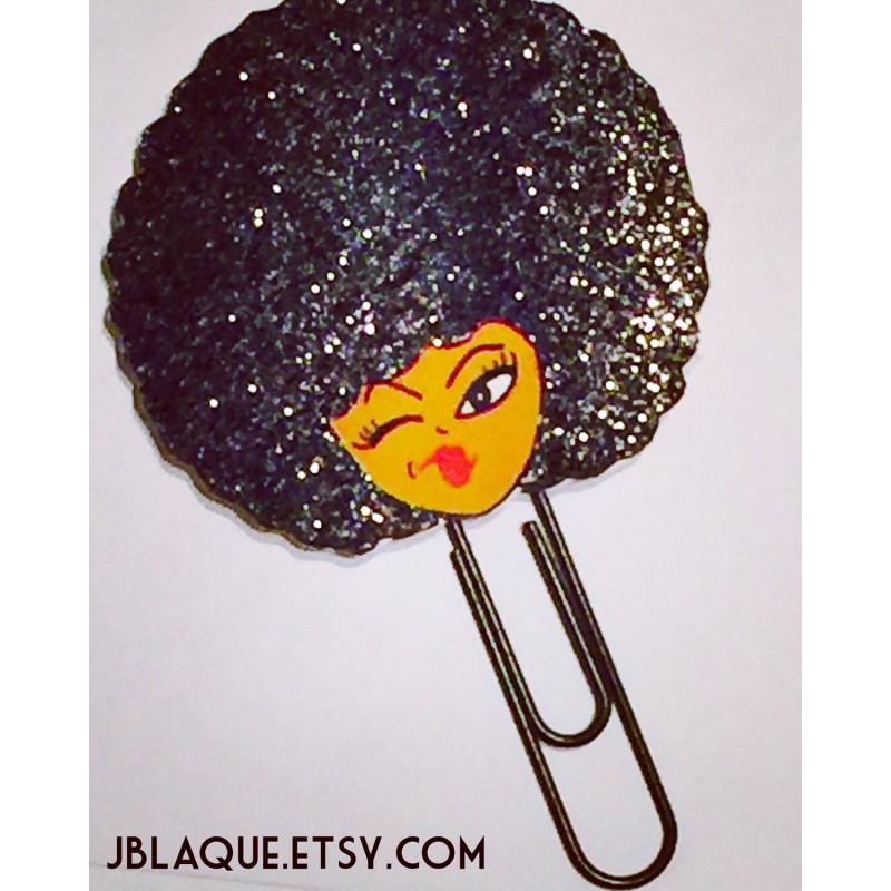 Afro Girl Planner Clip, Bookmark