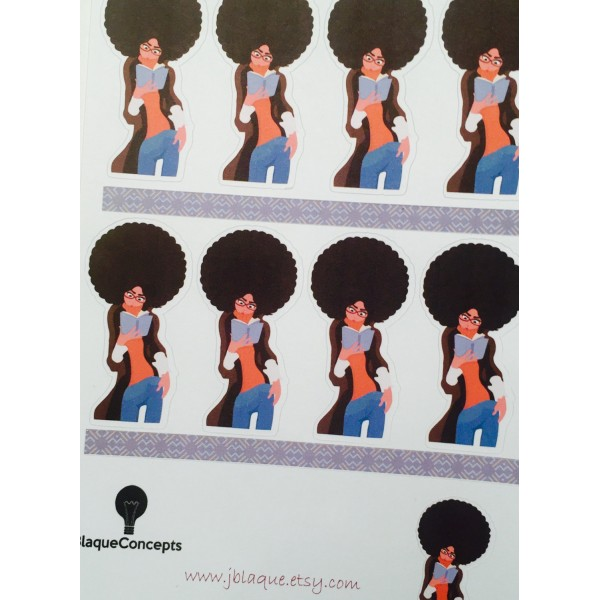 Serious Reader, Diva Planner Friend, Style B  - Sticker Sheets