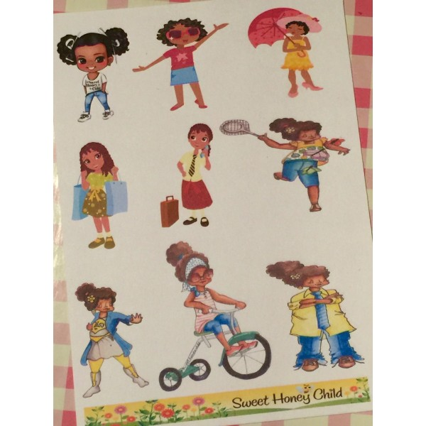Sweet Planner Girls -   African American Sticker Sheets