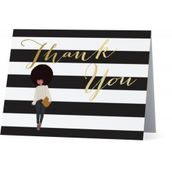 Casual Chic Striped Thank You Folded Notes