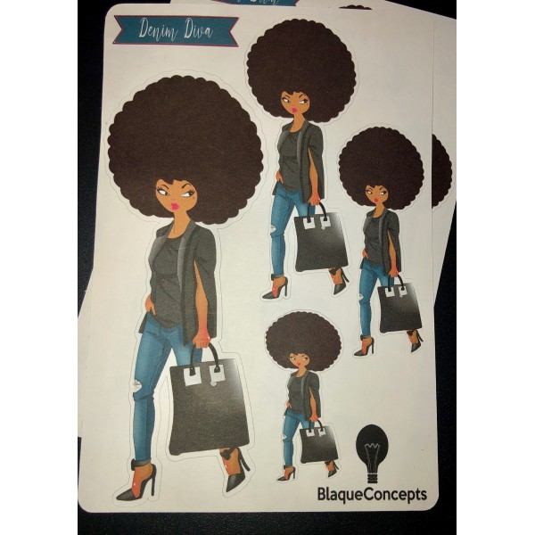 Big on Denim Diva Friend Stickers