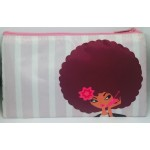 Afro Girl Striped Pouch - Pretty in Pink